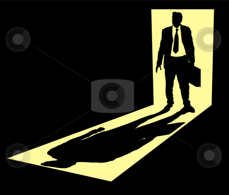 Illustration of businessman with briefcase standing in doorway stock vector clipart, Illustration of businessman with briefcase standing in doorway by Christos Georghiou