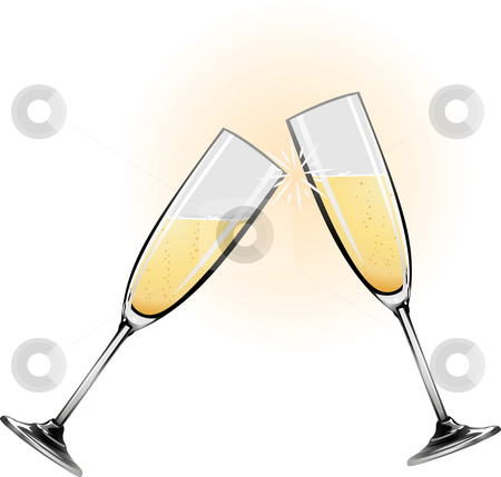 Illustration of champagne glasses stock vector clipart, Illustration of champagne glasses knocking together during a toast by Christos Georghiou