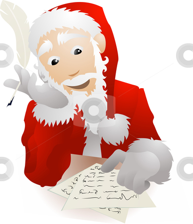 Santa Claus Checking His Christmas List or Replying to Childrens stock vector clipart, An illustration of Father Christmas or Santa Claus checking his Christmas list or replying to children by Christos Georghiou