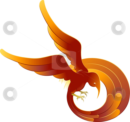 A swooping fiery bird stock vector clipart, A vector illustration of a swooping stylised bright orange bird by Christos Georghiou