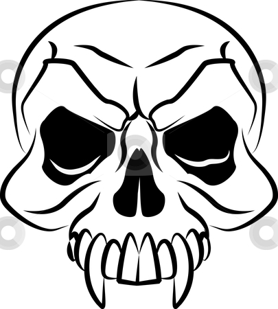 Illustration of a skull stock vector clipart, Black and white illustration of scary skull head by Christos Georghiou