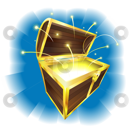 Illustration of treasure chest with sparks flying stock vector clipart, Illustration of treasure chest with magic sparks flying by Christos Georghiou