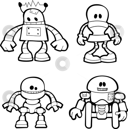 Illustration of little robots stock vector clipart, Black and white illustration of little robots by Christos Georghiou
