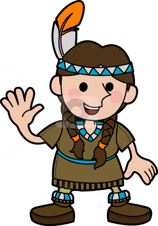 Illustration of girl in Native American costume stock vector clipart, Illustration of young girl in Native American costume and braids waving by Christos Georghiou