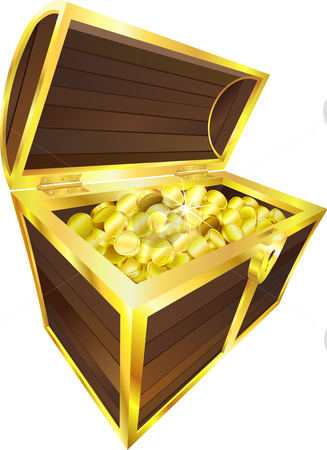Illustration of treasure chest containing gold coins stock vector clipart, Illustration of treasure chest containing gold coins by Christos Georghiou