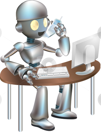 Illustration of robot sitting at desk stock vector clipart, Illustration of futuristic robot sitting at desk on the phone and looking at computer by Christos Georghiou