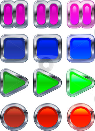 Shiny metallic glowing control panel buttons stock vector clipart, Shiny metallic glowing control panel button icons in various rollover state versions by Christos Georghiou