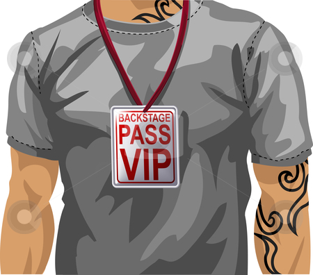 Illustration of man wearing VIP badge stock vector clipart, Illustration of man wearing backstage VIP pass around neck by Christos Georghiou