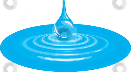 Illustration of falling drop impacting the surface of water stock vector clipart, A vector illustration of a falling drip of water impacting the water by Christos Georghiou