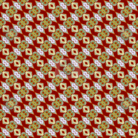 Festive exotic pattern stock photo, Seamless texture of many abstract shapes in warm exotic colors by Wino Evertz