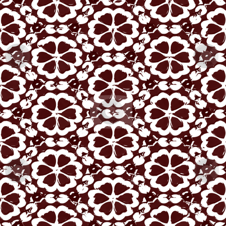 Grunge brown flower pattern stock photo, Seamless texture of grungy sketched brown flowers on white by Wino Evertz