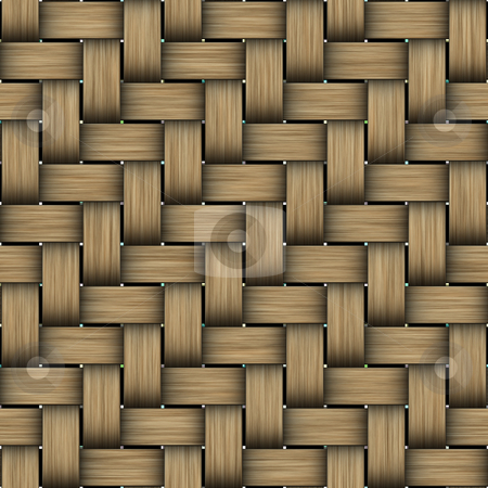 Intertwined wood pattern stock photo, Seamless texture of intertwined brown wooden strings by Wino Evertz