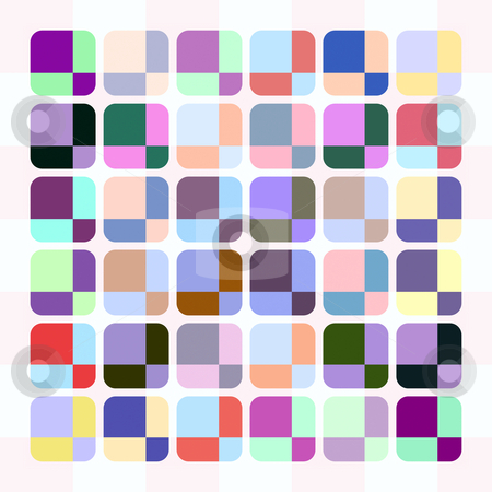 Pastel cube pattern stock photo, Texture of rounded squares with pastel motive on white by Wino Evertz