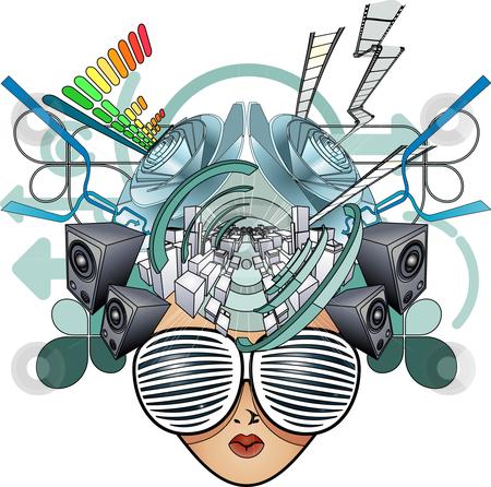 Media head abstract illustration stock vector clipart, A media head abstract illustration by Christos Georghiou