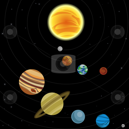Illustration of solar system stock vector clipart, Illustration of solar system with stars and planets by Christos Georghiou