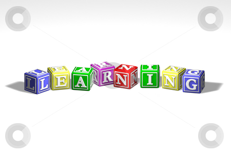 Illustration of learning blocks stock photo, Illustration of colorful learning blocks in a row by Christos Georghiou