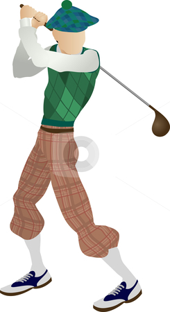 Golfer stock vector clipart, An illustration of a stylised classic golfer teeing off by Christos Georghiou