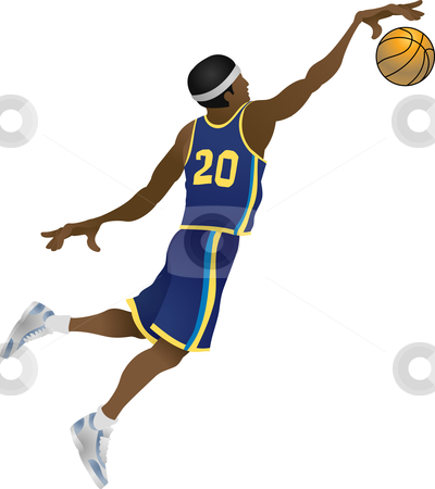 Basketball player stock vector clipart, An illustration of Basketball player dunking a ball by Christos Georghiou