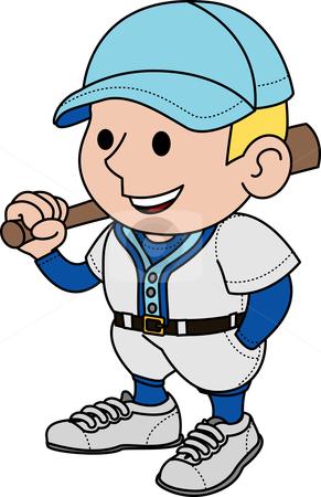 Illustration of baseball player stock vector clipart, Illustration of male baseball player holding bat by Christos Georghiou