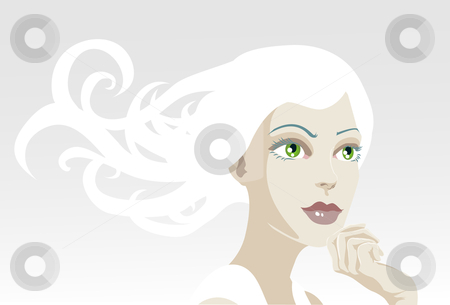 Beautiful ethereal tranquil woman stock vector clipart, A vector illustration of a beautiful, ethereal, tranquil woman looking out of frame by Christos Georghiou
