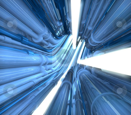 Illustration of pipe tunnel stock photo, Illustration of abstract blue pipe tunnel by Christos Georghiou