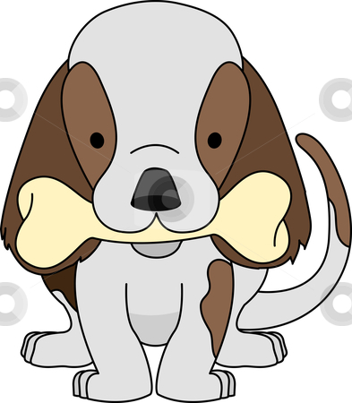 Illustration of puppy with bone stock vector clipart, Illustration of puppy holding dog bone in mouth by Christos Georghiou