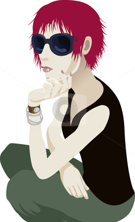 Sunglasses woman stock vector clipart, A fashionable young woman with sunglasses on by Christos Georghiou