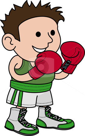 Illustration of male boxer stock vector clipart, Illustration of male boxer wearing boxer gloves by Christos Georghiou