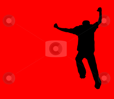 Crazy running silhouette stock photo, Silhouette of a crazy dancing running person by Todd Arena