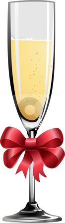 Illustration of champagne stock vector clipart, Illustration of champagne glass with red ribbon by Christos Georghiou