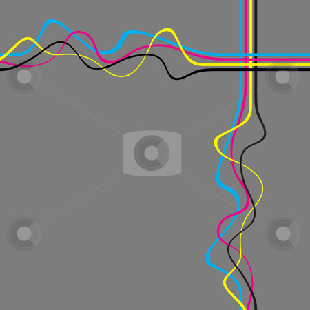 Squiggle Lines stock photo, Abstract layout with wavy lines in a cmyk color scheme. by Todd Arena
