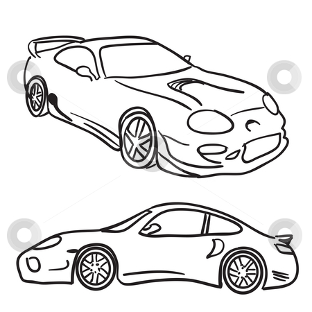 Sports Car Sketches stock photo, Clip art sports car drawings isolated over white in vector format.  Paint them any color you need. by Todd Arena