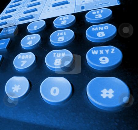 Blacklit phone keys stock photo, Blue glowing - phone keypad. by Todd Arena
