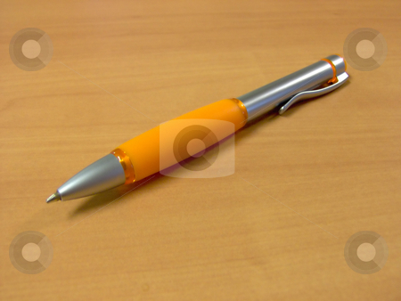 Orange Pen w/ Clipping Path stock photo, Clipping path included - place it on any color background easily. by Todd Arena