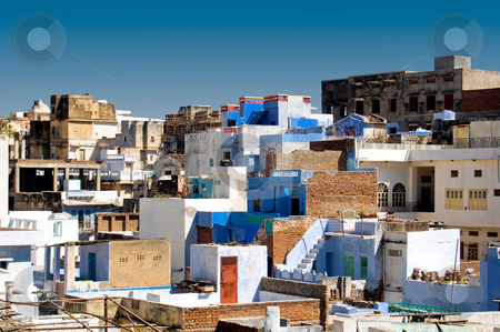 Blue houses in Udaipur stock photo, The blue houses of Udaipur give a little bit of Greek feeling to this indian city... by Piero Biondo