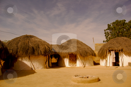 Desert hut stock photo, Typical desert huts in the indian State of Rajasthan... by Piero Biondo