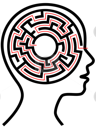 Circle Maze Puzzle as a Brain in Outline Profile stock vector clipart, A circle radial maze puzzle as a brain in a profile person's head outline. by Michael Brown