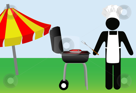 Symbol Man chef Cooks Out on Barbecue stock vector clipart, Symbol Man chef grills steak at a summer cook out on a Barbecue on his lawn. Copyspace on his apron. by Michael Brown