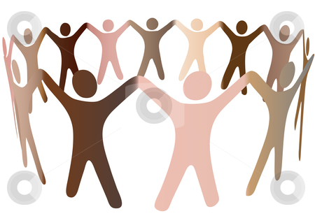 Human skintones blend in ring of diverse people stock vector clipart, Human skintones join hands and blend together in a ring of diverse multicultural people. by Michael Brown