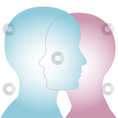 Male & Female Silhouette Profile Faces Merge stock vector clipart, Profiles of a couple of people merge as overlapping faces to illustrate sex and gender issues. by Michael Brown