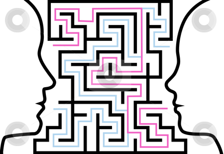 Man woman outline profiles face a puzzle in maze stock vector clipart, A couple of people communicate to solve a maze of love or other problems in a puzzle. by Michael Brown