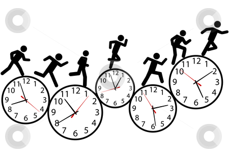 Symbol people run a race in time on clocks stock vector clipart, A person or people in a hurry run a day long race against time on clocks. by Michael Brown