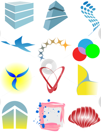 Varied set of colorful design elements or icons stock vector clipart, A varied set of colorful design elements or icons. by Michael Brown