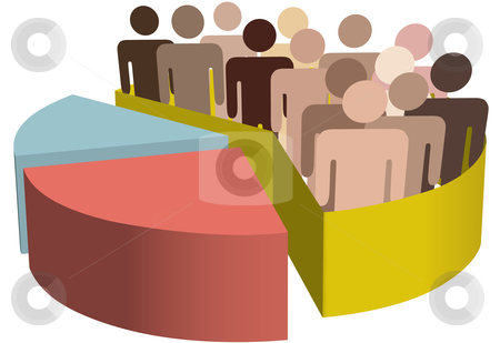Diverse group of symbol people as data in a chart stock vector clipart, A chart with a diverse group of people as symbols of majority, population, team, market, customers, audience, voters. by Michael Brown