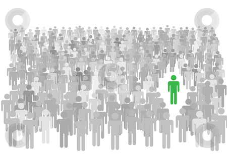 Individual person stands out from large crowd of symbol people stock vector clipart, One colorful individual person stands out from large diverse crowd of gray symbol people. by Michael Brown