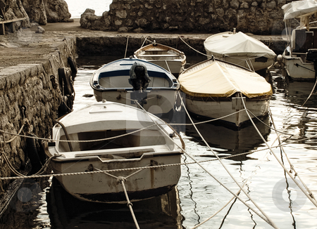 Boats stock photo, Several boats in the small port somewhere in the Adriatic Sea by Sinisa Botas