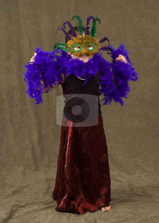 Toddler Costume stock photo, A female toddler wearing a pretty dress and a feather mask along with a feather boa by Richard Nelson