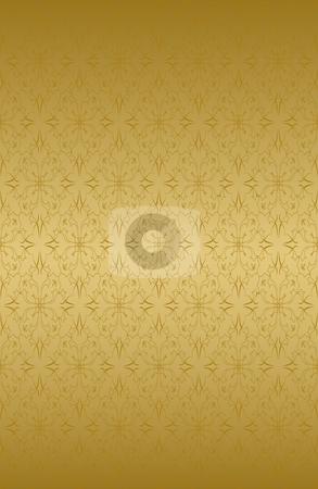 Golden ornate pattern stock vector clipart, Ornamental wallpaper that will tile seamlessly. by Ina Wendrock