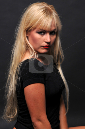 Blonde stock photo, Beautiful blonde in a black top by Harris Shiffman