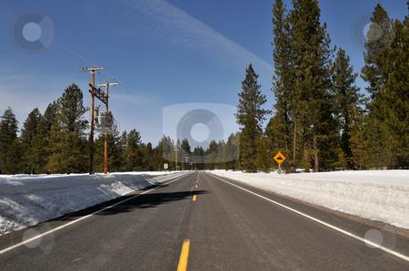 Winter road stock photo, Winter road near Klamath, Oregon by Harris Shiffman